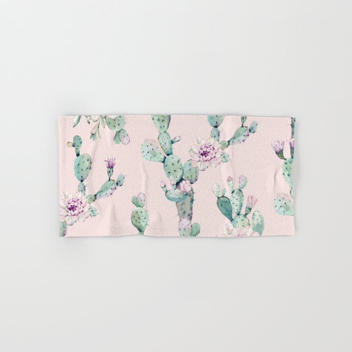 Cactus Rose Pattern on Pink Hand & Bath Towel