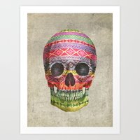 skull Art Prints featuring Navajo Skull  by Terry Fan