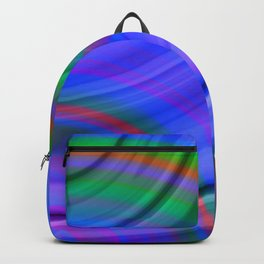 Fluttering curved semicircles with a crisp indigo accent and all the colors of the rainbow. Backpack