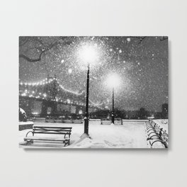 New York City Night Snow Metal Print