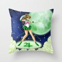 sailor jupiter Throw Pillows featuring Sailor Jupiter by HaruShadows