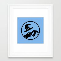 snowboarding Framed Art Prints featuring snowboarding 3 by Paul Simms