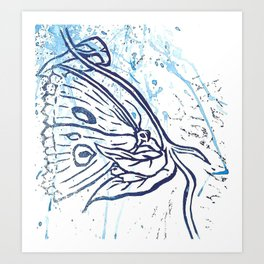 Bold blue moth lino and ink splatter print Art Print