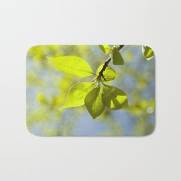 linden leaves, spring Bath Mat