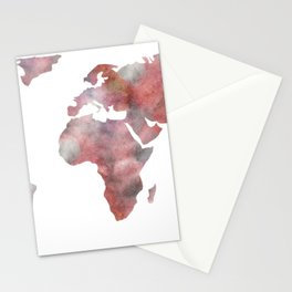 World Map in City Mod Red Slate Stationery Cards