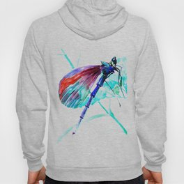 Dragonfly , Turquoise Bright Blue Red art Hoody
