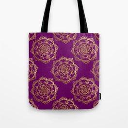 Golden Mandalas on Purple Tote Bag