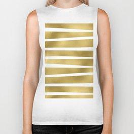 Simply Luxury Gold unequal glitter stripes on clear white - horizontal  pattern Biker Tank