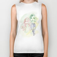 girls Biker Tanks featuring Girls by Duru Eksioglu