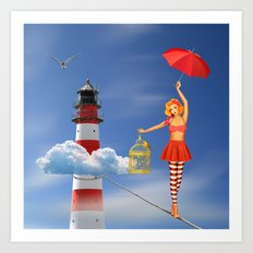 Tightrope dancer, or just flying is better Art Print