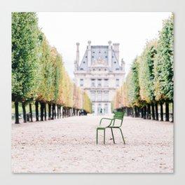 Green Chair in Tuileries Gardens in Paris, France Canvas Print