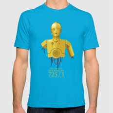 Never Tell Me The Odds (C3P0) Mens Fitted Tee Teal MEDIUM