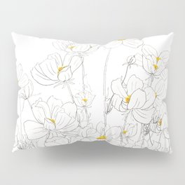 white cosmos flowers  ink and watercolor Pillow Sham