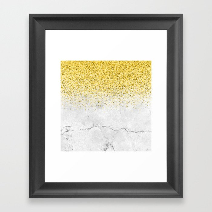 Gold Glitter and Grey Marble texture Gerahmter Kunstdruck