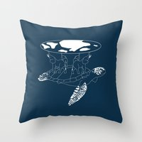 discworld Throw Pillows featuring Discworld by Rebecca McGoran