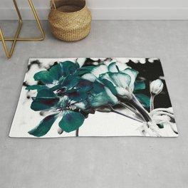 Dark Teal Flowers Rug