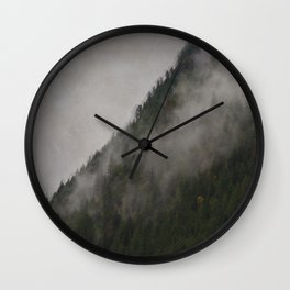 Revelstoke Forest Mists Photo Art Wall Clock