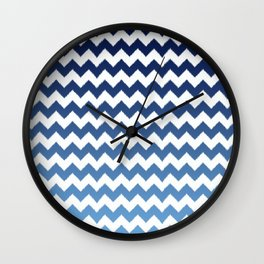 blue ombre ikat cheveron Wall Clock