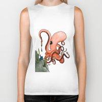 writer Biker Tanks featuring Octopus Writer by Zekis Art