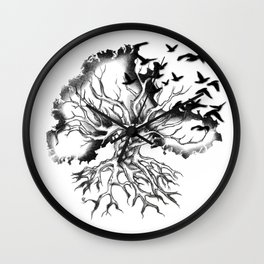 Hand designed Celtic pattern tree with knots and crows Wall Clock