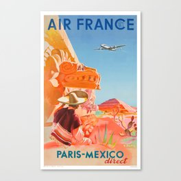 1952 AIR FRANCE Paris Mexico Direct Travel Poster Canvas Print