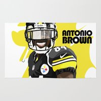 steelers Area & Throw Rugs featuring Antonio Brown  by MikeHanz