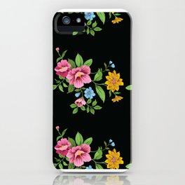 Neck Gaiter Floral on Black Face Mask Bandana Balaclava Headband Made in the USA iPhone Case