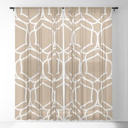 Brown and White Minimal Shape Tile Pattern 2 Pairs 2022 Popular Color Woven Wicker SW 9104 Sheer Curtain