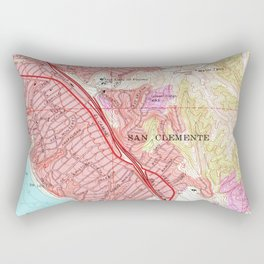 Vintage Map of San Clemente California (1968) Rectangular Pillow