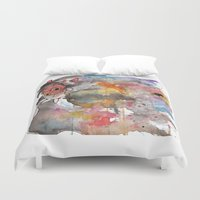 princess mononoke Duvet Covers featuring Rainbow Princess Mononoke by scoobtoobins