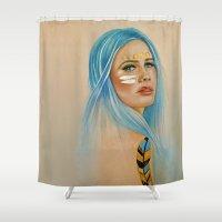 lunar Shower Curtains featuring Lunar Child by Hayley Michelle