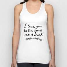 To the Moon and Back- White Unisex Tank Top