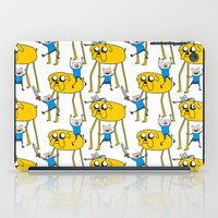 finn and jake iPad Cases featuring Adventure Time - Jake & Finn by www.Lusy.ink
