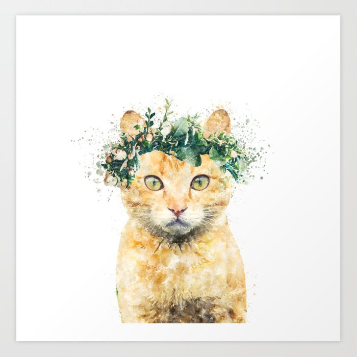 Boho Watercolor Cat, Cat Lady, Plant Lady, Funny cute Cat, home ...