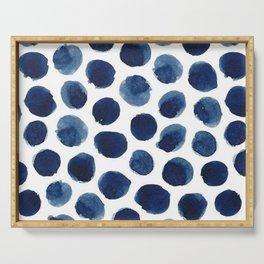 Watercolor Navy Blue Polka Dots Serving Tray