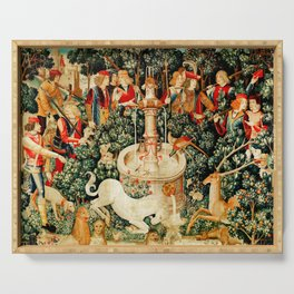 Hunt Of The Unicorn Medieval Tapestry Serving Tray