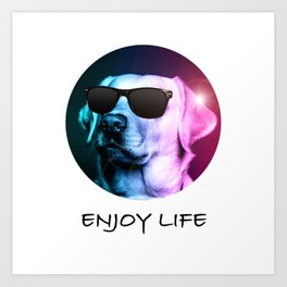 Cool Dog Enjoying Life Art Print