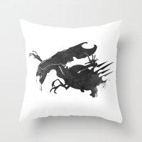 xenomorph Throw Pillows featuring The Queen Alien by DWatson