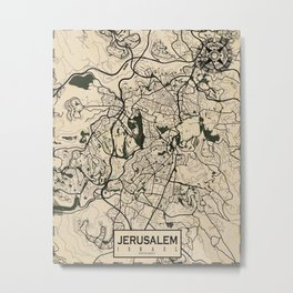 Jerusalem City Map of Israel - Vintage Metal Print