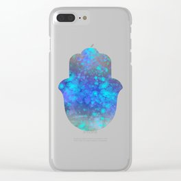 Watercolor Splatter Hamsa Hand Clear iPhone Case
