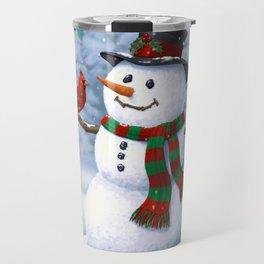 Cute Happy Christmas Snowman with Birds Travel Mug