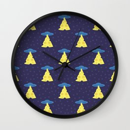 Abstract futuristic print with flying saucers, rays of light with cheese. Wall Clock