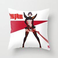 kill la kill Throw Pillows featuring kill la kill by Botslim