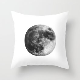 Moon | Full Moon | Black&White Art | Minimalism | Universe | Watercolor Painting Throw Pillow