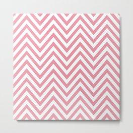 Zigzag Pattern, Chevron Pattern - White Pink Metal Print