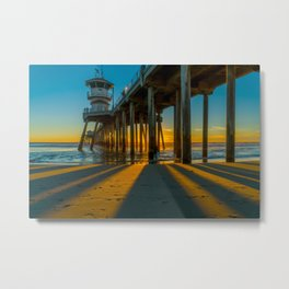 In the Shadow of the Pier Metal Print