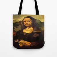 mona lisa Tote Bags featuring Mona Lisa by Robert Morris