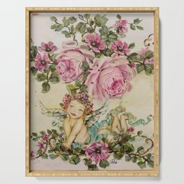Sweet Cherub and Pink Roses Painting Serving Tray