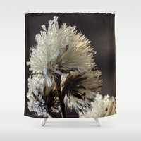 weed Shower Curtains featuring frosty weed by Bonnie Jakobsen-Martin