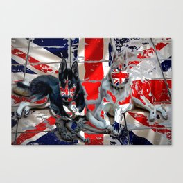 huskies in the union flag Canvas Print